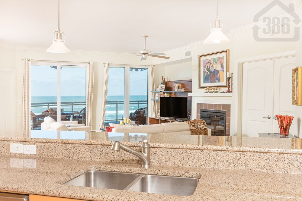 ocean vistas 308 kitchen view